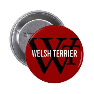 Welsh Terrier Breed Monogram Pinback Buttons