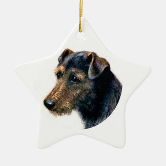 Welsh Terrier Ceramic Star Decoration