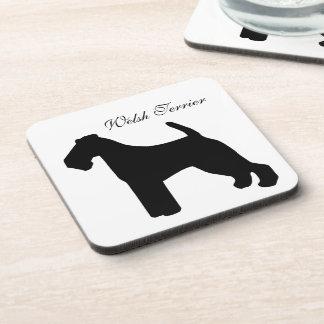 Welsh Terrier dog black silhouette coaster