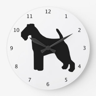 Welsh Terrier dog black silhouette Large Clock