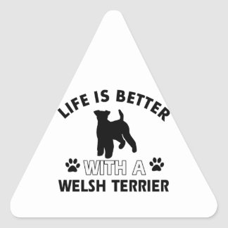 Welsh Terrier dog breed designs Triangle Sticker