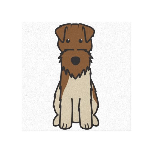 Welsh Terrier Dog Cartoon Stretched Canvas Print
