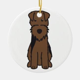 Welsh Terrier Dog Cartoon Round Ceramic Decoration