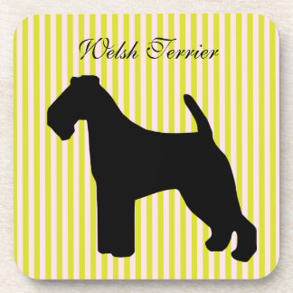 Welsh Terrier dog green & pink stripes coaster