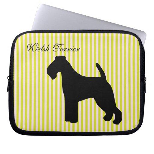 Welsh Terrier dog green & pink stripes laptop bag Computer Sleeve
