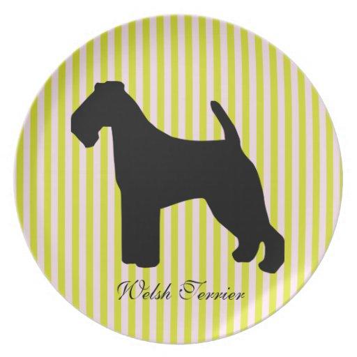 Welsh Terrier dog green & pink stripes plate