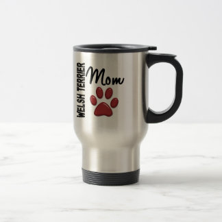 Welsh Terrier Mom Paw Print 2 Stainless Steel Travel Mug