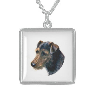 Welsh Terrier Neckwear Square Pendant Necklace