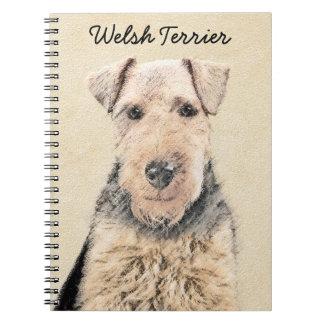 Welsh Terrier Painting - Cute Original Dog Art Spiral Notebook