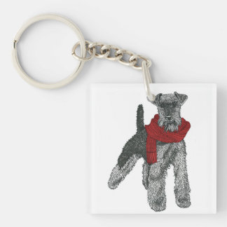 Welsh Terrier, Red. Single-Sided Square Acrylic Key Ring