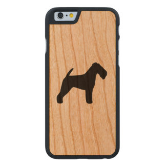 Welsh Terrier Silhouette Rustic Carved® Cherry iPhone 6 Slim Case