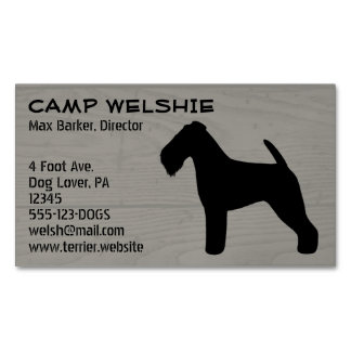 Welsh Terrier Silhouette Wood Grain Magnetic Business Cards