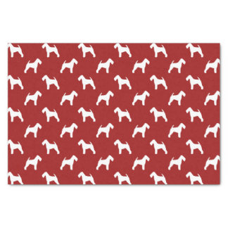 Welsh Terrier Silhouettes Pattern Red Tissue Paper