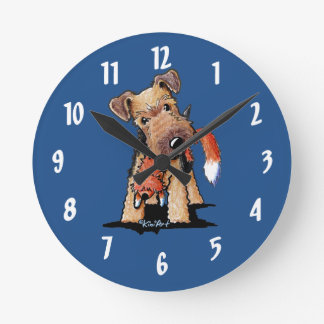 Welsh Terrier With Toy Fox Round Clocks
