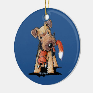 Welsh Terrier With Toy Fox Christmas Ornaments