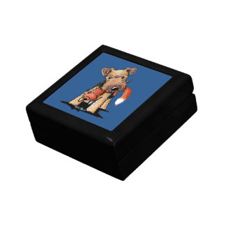 Welsh Terrier With Toy Fox Keepsake Boxes