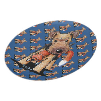 Welsh Terrier With Toy Fox Party Plate
