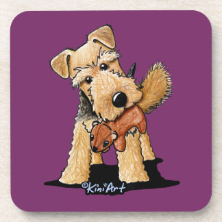 Welsh Terrier With Toy Squirrel Drink Coasters