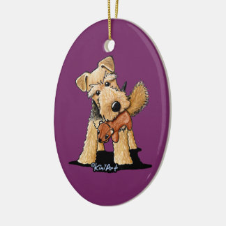 Welsh Terrier With Toy Squirrel Christmas Ornaments