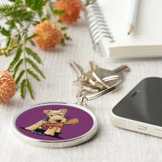 Welsh Terrier With Toy Squirrel Keychain