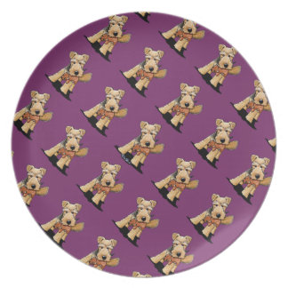 Welsh Terrier With Toy Squirrel Dinner Plate
