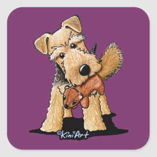 Welsh Terrier With Toy Squirrel Square Stickers