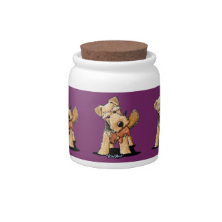 Welsh Terrier With Toy Squirrel Candy Jars
