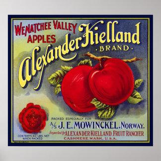 WENATCHEE VALLEY APPLES FRUIT CRATE LABEL 1910 POSTER