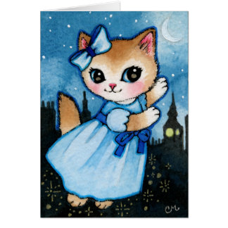Wendy Cat Flying - Cute Peter Pan Kitty Card
