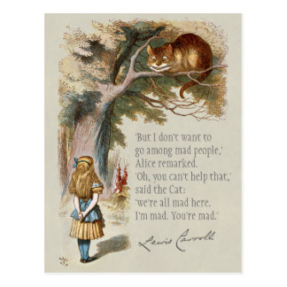 We're all mad here CC0188 Alice Cheshire cat Postcard