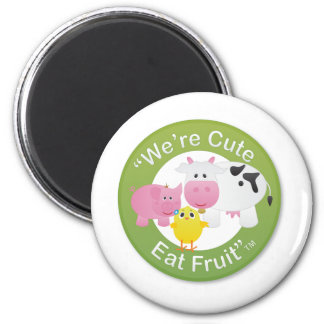 We're Cute, Eat Fruit 6 Cm Round Magnet