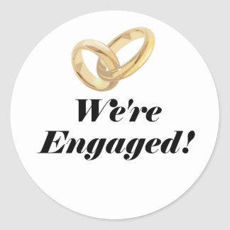 Were Engaged Classic Round Sticker