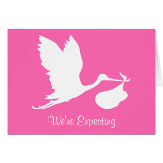 We're Expecting Flying Stork Card