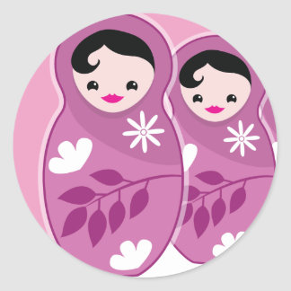 We're Expecting TRIPLETS 3 babushka dolls Classic Round Sticker