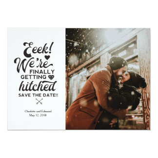 We're finally getting hitched save the date card