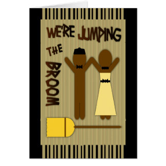 We're Jumping The Broom With Border And Stripes Card