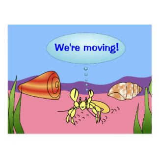 We're Moving Hermit Crab Change of Address Cards Postcard