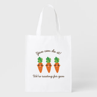 We're Rooting For You Funny Encouraging Carrots Reusable Grocery Bag