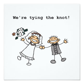"We're Tying the Knot 5.25"" Square Invitation Card"