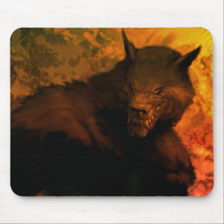 Werewolf bust mouse pad