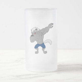 werewolf Dabbing Funny Halloween Dab Dance Frosted Glass Beer Mug