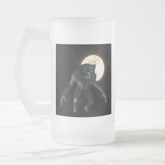 Werewolf Frosted Glass Beer Mug