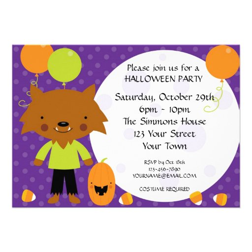 Werewolf Halloween Party Custom Announcements