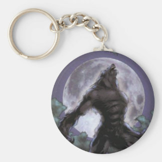 Werewolf Howling At The Moon Key Ring