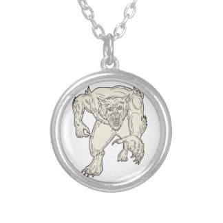 Werewolf Monster Running Mono Line Silver Plated Necklace