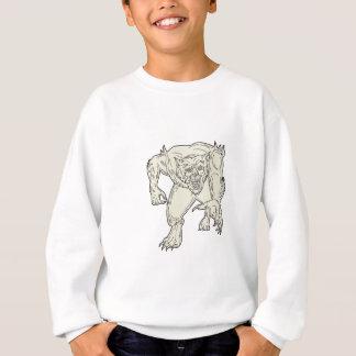 Werewolf Monster Running Mono Line Sweatshirt