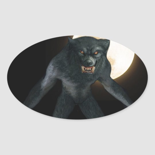 Werewolf Oval Sticker