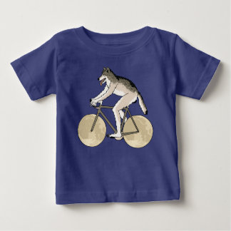 Werewolf Riding Bike With Full Moon Wheels Baby T-Shirt