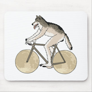 Werewolf Riding Bike With Full Moon Wheels Mouse Pad