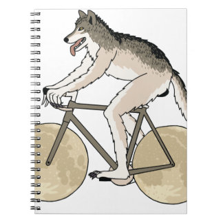 Werewolf Riding Bike With Full Moon Wheels Notebooks